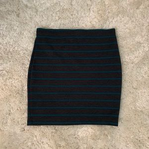 Grey and teal striped mini skirt